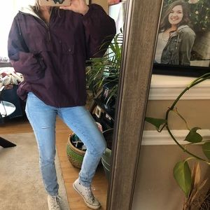vintage deep purple windbreaker hoodie coat